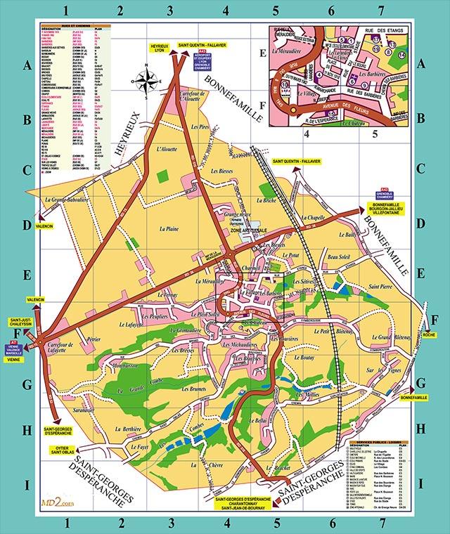 Plan de la commune de Diémoz